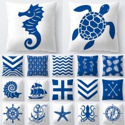 Patrones de mar azul y blanco - funda de cojín - 45 * 45cm
