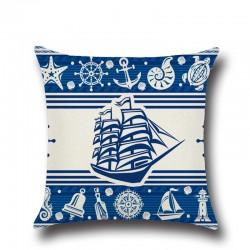 1 Pcs Anker Boot Zee Serie Nautische Blauw Katoen Linnen Sierkussen Kussenhoes Woondecoratie Sofa De