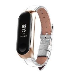 Cuero negro caso de oro rosa reloj inteligente banda para xiaomi mi banda 3 correa para xiaomi mi ba