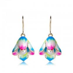 Boucles d'oreilles en forme de goutte de fleurs et perles en porcelaine