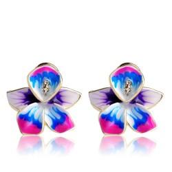 Aretes con flor y cristales