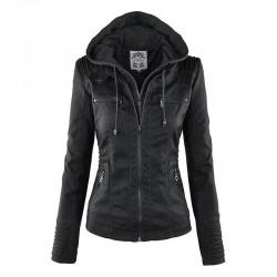 Calda giacca di pelle con cappuccio rimovibile
