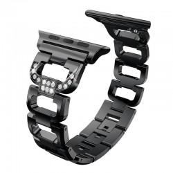 Kryształowa bransoletka diamentowa - pasek do Apple Watch 1-2-3 / 42mm-38mm ze stali nierdzewnej