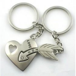 Coeur et flèche - porte-clés en argent avec cristal