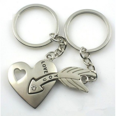 Herz & Pfeil - silberner Schlüsselanhänger mit Kristall