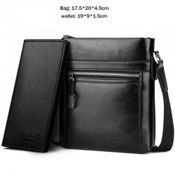 Classic POLO - waxy leather crossbody shoulder bag - wide