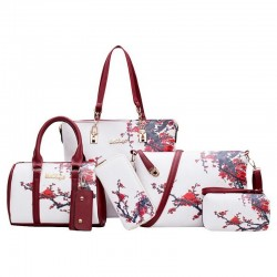 Leather bags with floral print - set