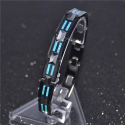 Natural Opal Tungsten Steel Black Ceramic Bracelet