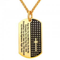 Cross & Bible verse pendant - stainless steel necklace