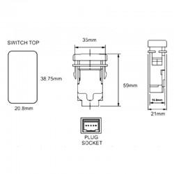 12V-24V SPST push button rocker switch - alien light for Toyota