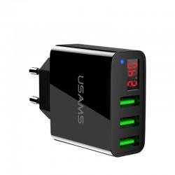 3.4A smart fast 3 port USB charger with LED display - EU plug