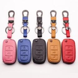 Funda de cuero con llave de coche para Volkswagen Polo B5, B6, Golf 4, 5, 6, Jetta, MK6, Tiguan