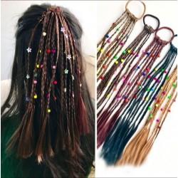 Peluca hecha a mano para niños - banda elástica para el cabello con cuentas