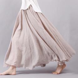 Women Linen Cotton Long Skirts Elastic Waist
