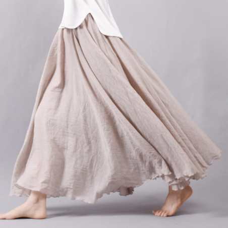 Women Linen Cotton Long Skirts Elastic Waist