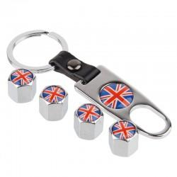 Bandera del Reino Unido - tapas de válvulas de neumáticos de coche con llavero llave