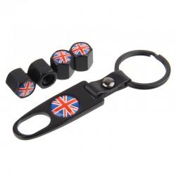 Britse vlag - autoband ventieldopjes met moersleutel sleutelhanger