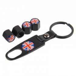 HAUSNN SchwarzSilber England UK Flagge Auto Reifen Ventilkappen Reifen Air Staub Stem Covers Mit We