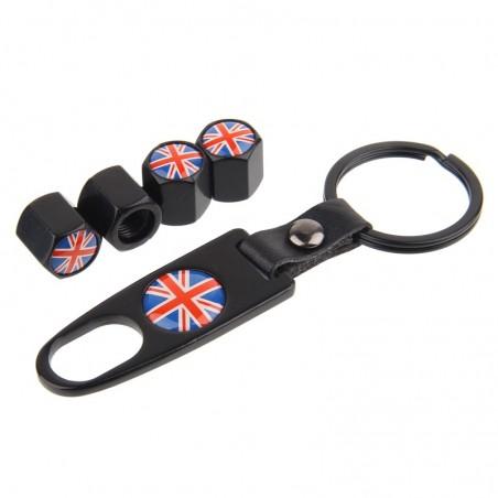 HAUSNN negroplata Inglaterra Reino Unido bandera tapas de vlvula de neumtico de coche cubiertas d