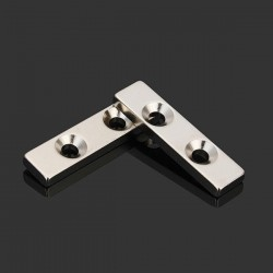 Bloque de imán de neodimio fuerte N35 40 * 10 * 4 mm - avellanado con 2 agujeros 2 piezas