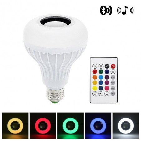 Smart RGB Wireless Bluetooth Speaker Light Lamp With 24 Keys Remote Control