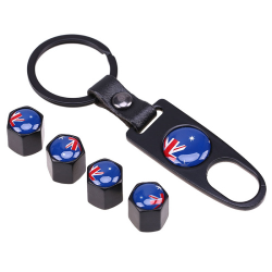 POSSBAY Rvs Zwarte Auto Wheel Air Ventieldopjes AustralischeEngelandi NYZwitserseNoorwegen vlag