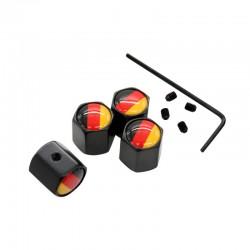 4 Teilesatz Deutschland Flagge Logo diebstahl Ventilkappen Schwarz Rad Reifen Stem Luftkappen Auto