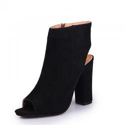 Sandali casual eleganti in pelle scamosciata con punta aperta e tallone