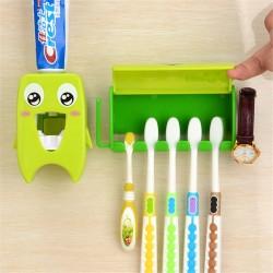 Organiseur de salle de bain multifonctionnel - porte-brosse à dents et distributeur de dentifrice