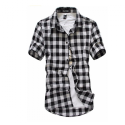 Fashion plaid shirt with short sleeve