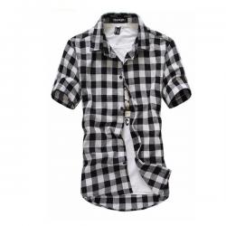 Modna koszula w kratę z krótkim rękawem