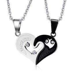 I Love You - corazón - colgante de acero inoxidable con collar - 2 piezas