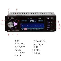 Bluetooth 1-din car radio - 4 inch display - mp3 mp5 FM audio stereo - support rear camera