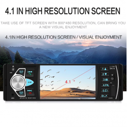 Bluetooth 1-din autoradio - 4 inch display - mp3 mp5 FM audio stereo - led camera