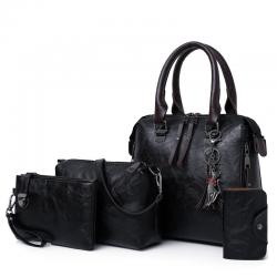 Luksusowa skórzana torebka komplet z portfelem 4 szt