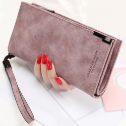 Long leather wallet with zipper