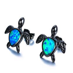 Żółw z niebieskim opalem - modne kolczyki
