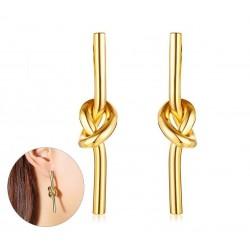 Vnox Einzigartige Knoten Ohrringe fr Frauen Gold-Ton Edelstahl Baumeln Ohrringe Weiblichen Partei S