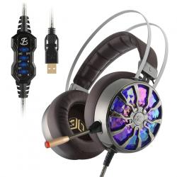 Set auriculaires gaming lumineuses avec cancellation rumeur NiUB5 PC65 - 3D USB 7.1 PS4