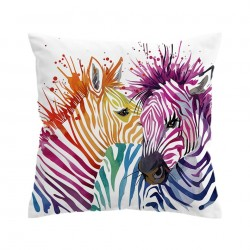 Funda almohada safari cebras coloreadas