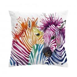 Kolorowe zebry safari - poszewka na poduszkę