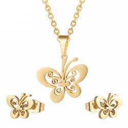 Set joyas collar y pendientes de oro y plata