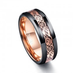 Auenhandel Carbon Faser Exquisite Rose Gold Drachen Mnner Ringe 100 Hartmetall Anillos para hombr