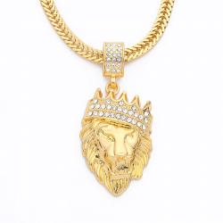 Collar de lujo con cabeza de leòn oro