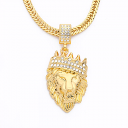 Collier de luxe tête de lion or
