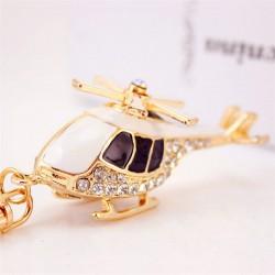 Kryształowy złoty helikopter - brelok do kluczy