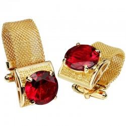 Luksusowe złote spinki do mankietów z kryształem