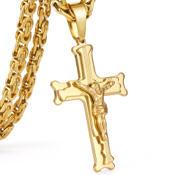 Collier dorè d'acier inox avec croix
