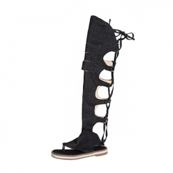 Denimowe sznurowane - do kolan - buty gladiator