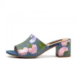 Letnie klapki z kwiatowym nadrukiem - sandały